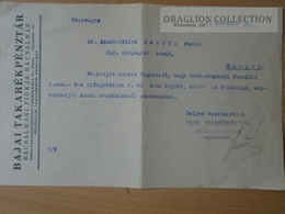 DC53.16  Hungary  BAJA  -Bajai Savings Bank -Bácsalmás 1937 - Invoices & Commercial Documents