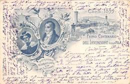 """0201 """"COMO 1899-PRIMO CENTENARIO DELL'INVENZIONE DELLA PILA"""" CARTOLINA RICORDO ORIGINALE. SPED 1901 - Personaggi Storici"""