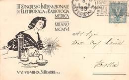 """0203 """"MILANO - III CONGRESSO INTER.LE ELETTROLOGIA E RADIOLOGIA MEDICA"""" CARTOLINA EVENTI ORIGINALE.  SPED 1906 - Manifestations"""