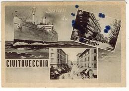 CIVITAVECCHIA SALUTI NAVE 1950 FG VG - Civitavecchia