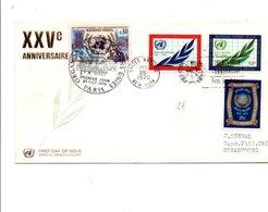 NATIONS UNIES 1970 25 ANS DE L'ONU - Lettres & Documents