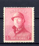 1919   Belgique, Roi Albert Casqué, 177** (gomme Altérée), Cote 430 €, - 1919-1920 Trench Helmet