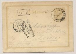 Suriname - 1884 - 7,5 Cent Opdruk Op 12,5 Cent Willem III, Briefkaart G5a Over Southampton Naar KR Leiden - Suriname ... - 1975