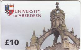 SCOTLAND - University Of Aberdeen, Student Telephone Service Prepaid Card 10 Pounds, Used - Phonecards