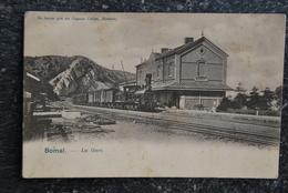 """1412/ BOMAL - La Gare -Train Vapeur (pub; """"Ne Buvez Que Du Cognac Coelen"""" Hamoir) - Gares - Avec Trains"""