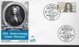 ALLEMAGNE  FDC 1993 Physique Mathematique Astronome Philosophe Theologien Alchimiste Isaac Newton - Fysica