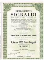 Action Ancienne - Congo - Etablissements Sigbaldi  - Titre De 1956 - Afrique
