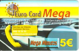 PORTUGAL - Monuments, Mega, Euro World Prepaid Card 5 Euro, Used - Portugal