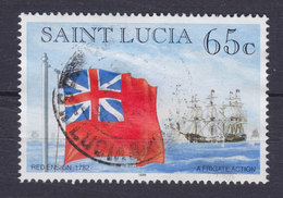 St. Lucia 1996 Mi. 1063 I    65c. Fagge Und Schiffe Flags & Ships Red Ensign A Frigate Action - St.Lucia (1979-...)