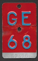 Velonummer Genf Genève GE 68 - Number Plates