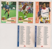 5 Cartes Panini Football 1994 Cards Official. Ginola Sauzée Papin = 2 Cartes Liste Des Joueurs - Other Collections