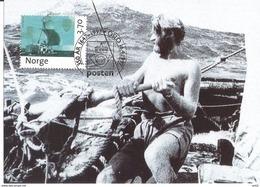 Norge Norway 1997 Thor Heyerdahl, Kon-Tiki Fleet MK 2-97   Mi 1250, Maximumcard - Maximum Cards & Covers