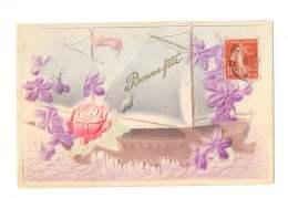 Bonne Fête - Bateau , Rose Et  Violettes - Gauffrée - 4620 - Otros