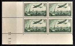 FRANCE 1934 / 1936 - BLOC DE 4 PA / Y.T. N° 8  - COIN DE FEUILLE / DATE / NEUFS** - Dated Corners