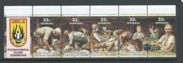 Australia 1986 Sheep Shearing Strip Of 5 Stampex Overprint In Gutter MNH - 1980-89 Elizabeth II