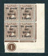 Malaya 1942 Jap Occup 2c On 5c Perak  In Plate B/4 M/M BK920 - Groot-Brittannië (oude Kolonies En Protectoraten)