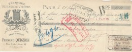 AC   B3361 - Chèque / Billet à Ordre  Fernand Quignon Paris( Précisions Sté, état... Voir Scan) - Unclassified