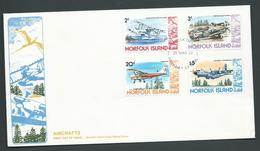 Norfolk Island 1980 Aircraft Definitives First Issue 4 Values 2c - $5 On Official FDC - Norfolk Island
