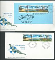 Norfolk Island 1979 Christmas Strip Of 3 & Miniature Sheet On Two Official FDC - Norfolk Island