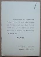 Faire-part Naissance Alain De Wilde D'Estmael. - Horion-Hozémont 1953. - Birth & Baptism
