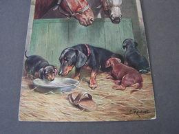 Dackel, Im Stall ,  Sign. Reichert Aus Lengries 1914 - Hunde