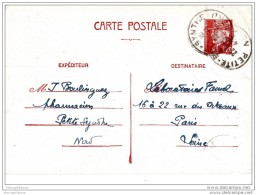 PETITE SYNTHE Nord Cachet A4 1943, Entier Pétain 1f20 N°515 CP1, - Cachets Manuels