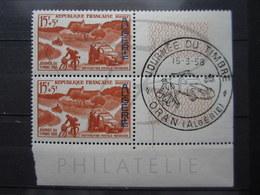 VEND BEAUX TIMBRES D ' ALGERIE N° 350 EN PAIRE + 2 BDF , CACHET JOURNEE DU TIMBRE !!! - Gebraucht