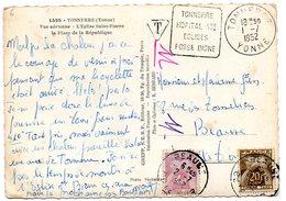 YONNE - Dépt N° 89 = TONNERRE 1952 = Flamme DAGUIN  ' HOPITAL / EGLISES / FOSSE DIONNE' 2 Timbres TAXE GERBE De BLÉ - Marcofilia (sobres)