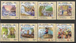 1988 SAINT-VINCENT GRENADINES 546-53+ BF 23-23A  ** Navigateurs, Bering, Colomb, Livingstone , Carte - St.Vincent & Grenadines