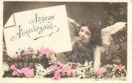Thèmes - Fêtes - Anniversaire - Ange - Fillette - Fleurs - Anniversaire
