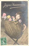 Thèmes - Fêtes - Anniversaire - Fillette - Fleurs - Panier - Anniversaire