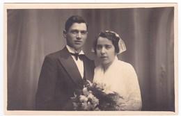 Ancienne Carte Photo Bretagne Finistère Couple Mariage Coiffe Robe Costume - Persone Anonimi