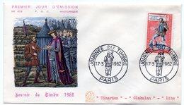 JOURNEE Du TIMBRE 1962 / PARIS = CACHET PREMIER JOUR Illustré 'MESSAGER ROYAL' N° Yvt 1332 ENVELOPPE Illustrée - FDC