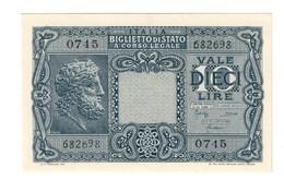 10 LIRE GIOVE 1944 BOLAFFI CAVALLARO GIOVINCO FDS  LOTTO 1385 - [ 1] …-1946 : Kingdom