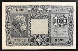 10 LIRE GIOVE 1944 BOLAFFI CAVALLARO GIOVINCO SUP/FDS  LOTTO 1315 - [ 1] …-1946 : Kingdom