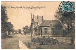 Bourg-Léopold - De Post En De Kiosk Op De Koningklijke Plaats 1925  (Geanimeerd) - Leopoldsburg