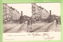 NANTES : Train En Gare De La Bourse. Vue Stéréoscopique . Edition Collection Decré . Peu Courant - 2 Scans - Nantes