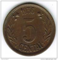 RARE - LITUANIE - 5 CENTAI 1936 - Lithuania