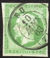 NAPOLEON ND EMPIRE N° 12a VERT JAUNE OB. CAD EU 10/01/1863 - 1853-1860 Napoleon III