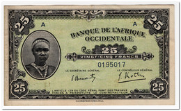 FRENCH WEST AFRICA,25 FRANCS,1942,P.30a,aXF - West African States