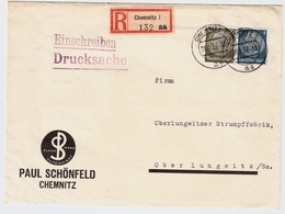 1937, Portogerechte Reko-Drucksache! ,  #a875 - Briefe U. Dokumente
