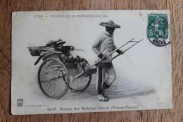 LYON - EXPOSITION INTERNATIONALE 1914 - SERVICE DES RICKSHAS CHINOIS POUSSE POUSSE CHINE CHINA - Lyon