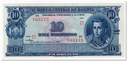 BOLIVIA,10 BOLIVIANOS,L.1945,P.139d,UNC - Bolivia