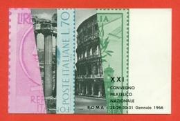 CARTOLINE CON FRANCOBOLLI-MRCOFILIA-ROMA- BORSE E SALONI COLLEZIONISMO - Francobolli (rappresentazioni)