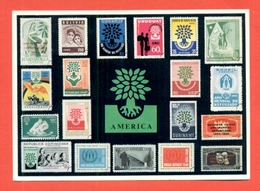 CARTOLINE CON FRANCOBOLLI-MRCOFILIA-TORINO- BORSE E SALONI COLLEZIONISMO-ANNO DEL  RIFUGIATO - Francobolli (rappresentazioni)