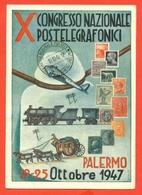 CARTOLINE CON FRANCOBOLLI-MRCOFILIA-PALERMO- BORSE E SALONI COLLEZIONISMO- - Francobolli (rappresentazioni)