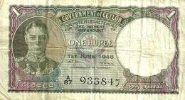SRI LANKA - CEYLON 1 RUPEE PURPE MAN KGVI FRONT & ELEPHANT BACK DATED 01-06-1948 P.34 F+ READ DESCRIPTION CAREFULLY !!! - Sri Lanka