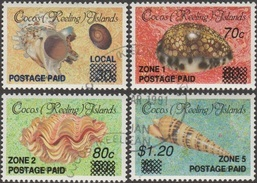 Cocos 1991 Y&T 229/32 Michel 241/4 Scott 225, 231/3. Coquillages, Surcharges Locales. Cote 90 € - Cocos (Keeling) Islands
