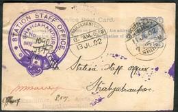 Br India, Queen Victoria, Service Postal Card, Shahjahanpur Postmark, Inde Indien - 1882-1901 Empire