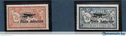 France Poste Aérienne 1927 Cat Yt N° 1 Et 2 N* MLH - Cote = 950.00 € - 1927-1959 Neufs